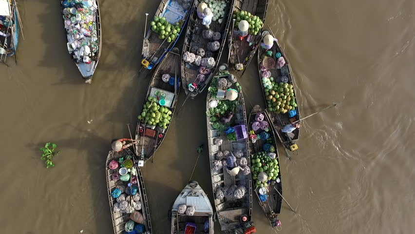 Aerial video from above, over a traditional floating market, in south of Vietnam | Shutterstock HD Video #17350639