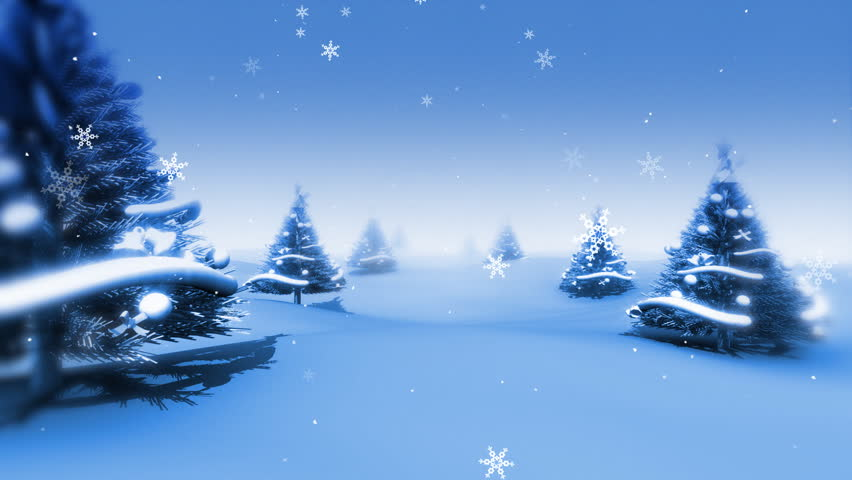 Christmas Trees and Snow HD Loop - HD stock video clip
