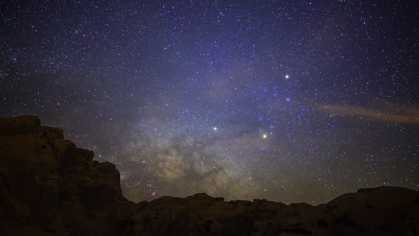 Time Lapse Of Milky Way Over The Badlands Stock Footage ...