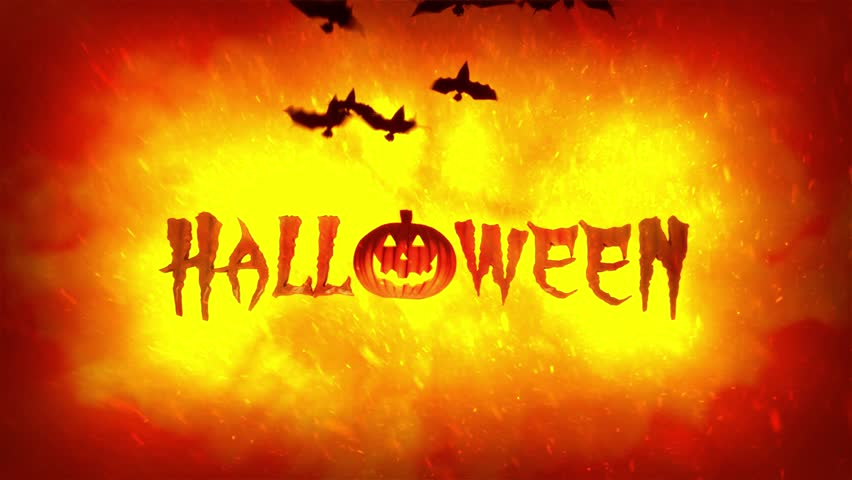 Halloween theme 4K high definition animation featuring Jack o Lantern pumpkin and bats flying on hellish fire flames background.  | Shutterstock HD Video #17418796