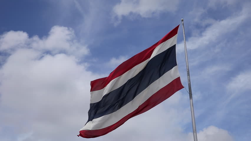Thailand flag With blue sky on a clear day  - HD stock footage clip