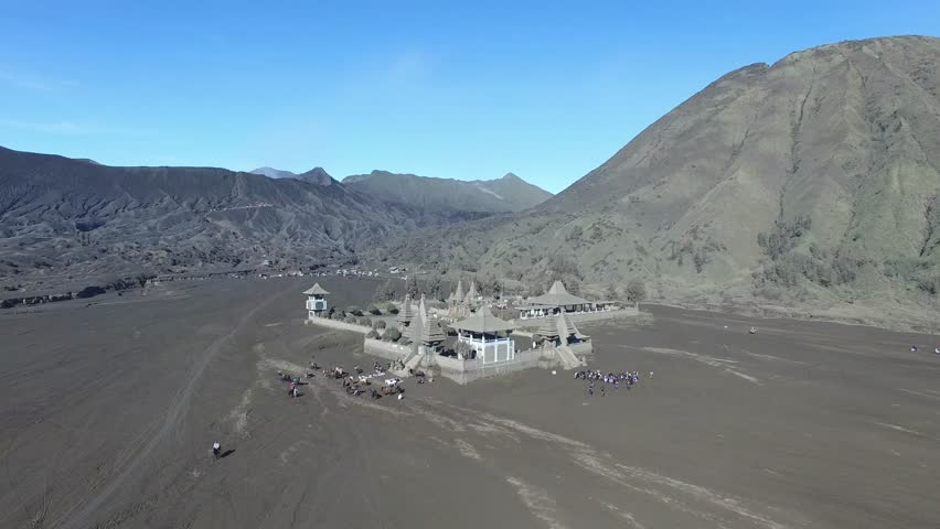 Hindu temple (Pura Luhur Poten) at the foot of Mount Bromo, Java island, Indonesia | Shutterstock HD Video #17512513