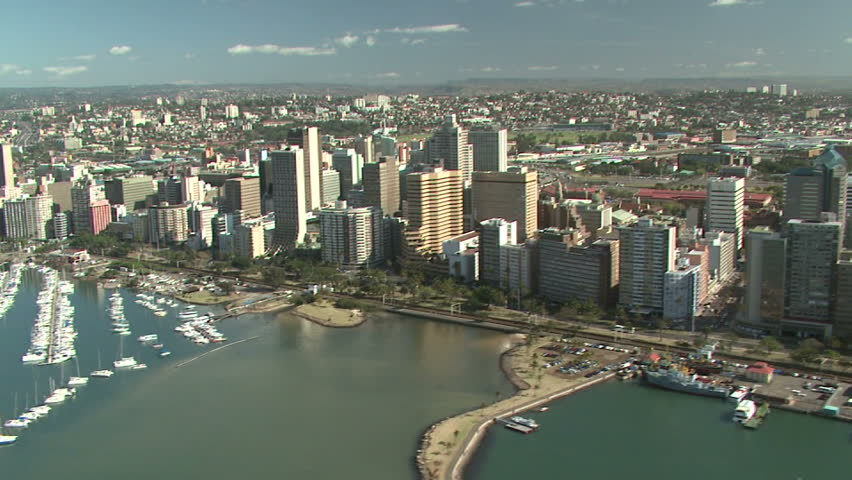 Aerial of Durban city and marina  - HD stock footage clip