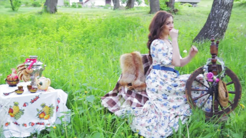 Beautiful Russian girl in the decoration - HD stock video clip