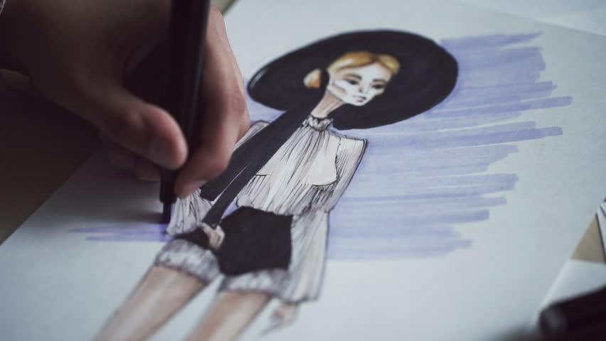 Fashion designer drawing and paint. Female fashion designer drawing sketches for clothes | Shutterstock HD Video #17541043