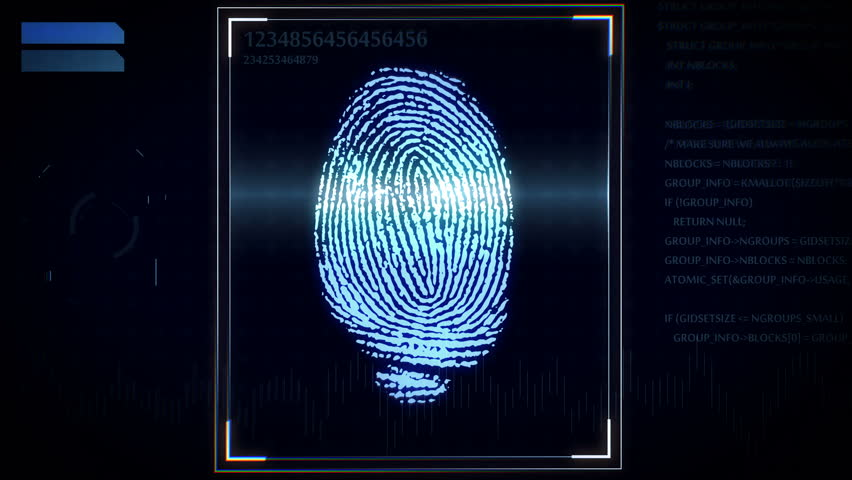 Shopping By Finger Touch, ID Fingerprint Scan Access Icon ...