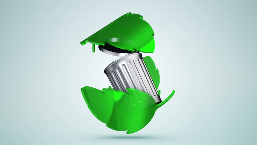 Animation of recycling symbol from shape of green leafs or green arrows around recycle bin with chrome surface. Animation of seamless loop. | Shutterstock HD Video #17563453