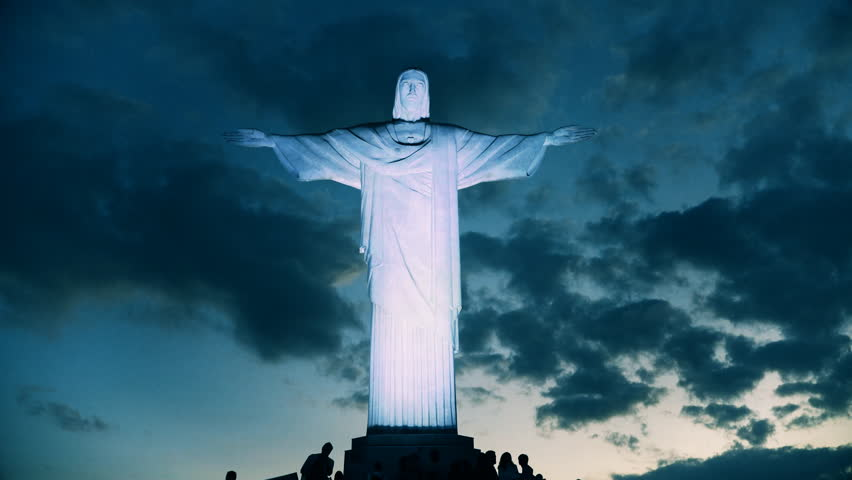 RIO DE JANEIRO, BRAZIL- 26, MAY, 2016: night time shot of the iconic christ the redeemer statue in rio de janeiro, brazil - 4K stock footage clip
