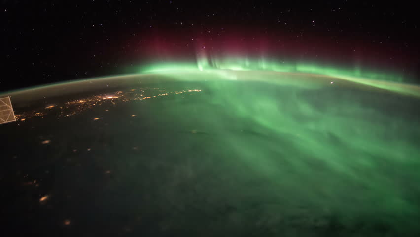 Planet Earth And Aurora Borealis Seen From The The ...