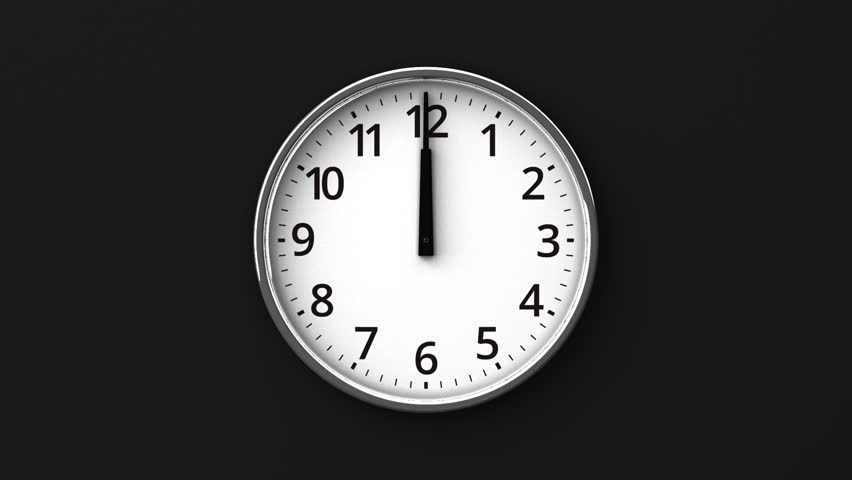 Clock On White Wall. Zoom View. 3DCG Render Animation