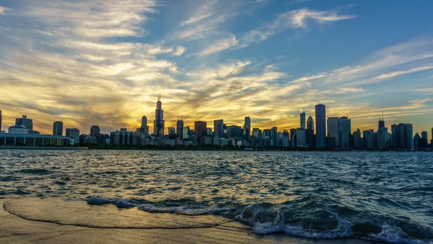Time lapse of the Chicago Skyline at Sunset #17733346