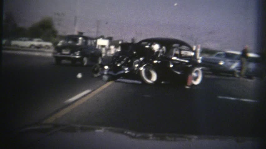 Car Accident Archival 1960s - HD stock video clip