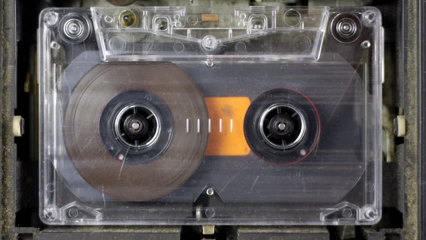 old music cassettes rewinding/fastforwarding - HD stock video clip