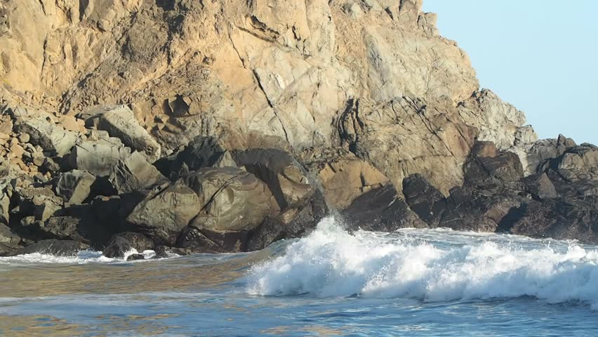 Pfeiffer Beach is located in the heart of Big Sur and is one of the favorite beaches in all of Big Sur. - HD stock footage clip