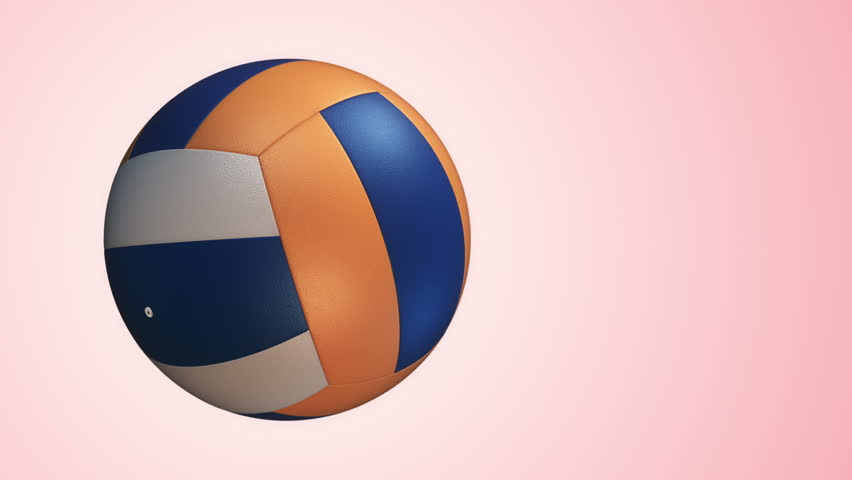 Animation of slow rotation ball for volleyball game. View of close-up with realistic texture and light. Animation of seamless loop. - HD stock footage clip