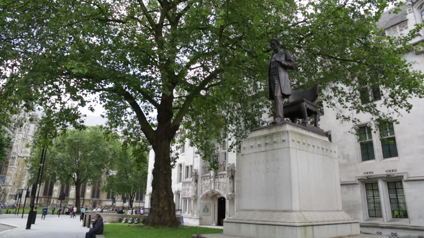 Abraham Lincoln Statue on the Parliament Square Long Shot - HD stock footage clip