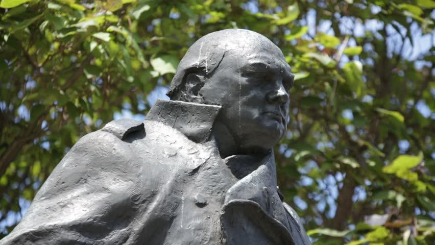 Statue of Winston Churchill on Parliament Square, London Close Up