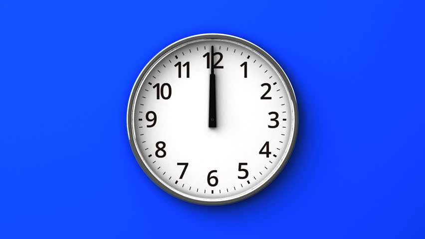 Reverse Rotation Clock On Blue Wall. Zoom View. 3DCG render Abstract Animation. | Shutterstock HD Video #17856268