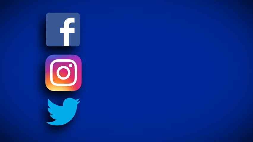 facebook instagram twitter animated logos social networks with empty space for text, motion graphics, social media platforms apps icons blue background