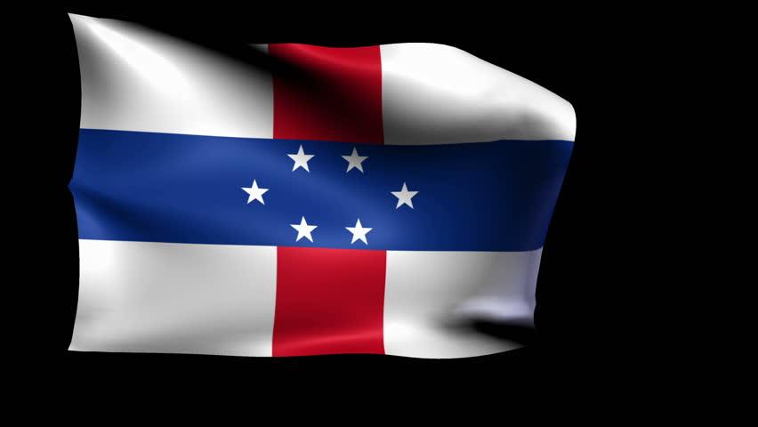 Netherlands Antilles National flag 5 second loop(Alpha Channel)   Shutterstock HD Video #17901529
