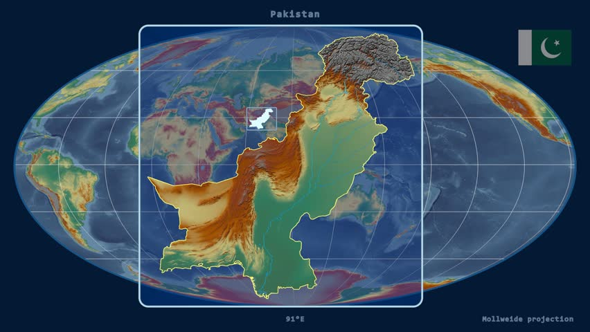 Zoomed-in view of a Pakistan outline with perspective lines against a global relief map in the Mollweide projection | Shutterstock HD Video #17928943