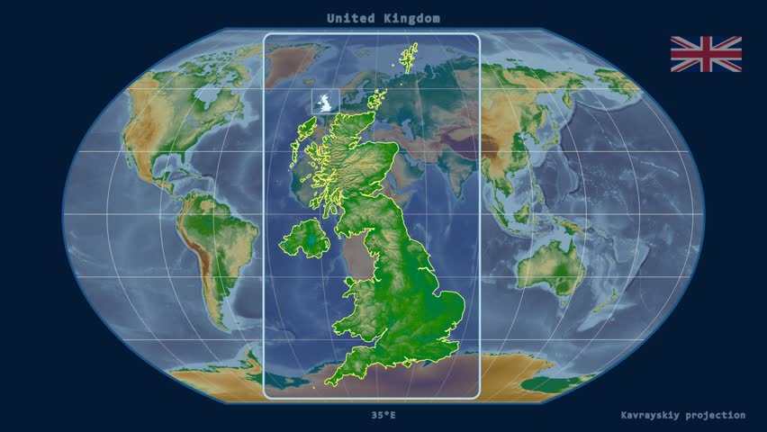 Zoomed-in view of a United Kingdom outline with perspective lines against a global physical map in the Kavrayskiy VII projection | Shutterstock HD Video #17930320