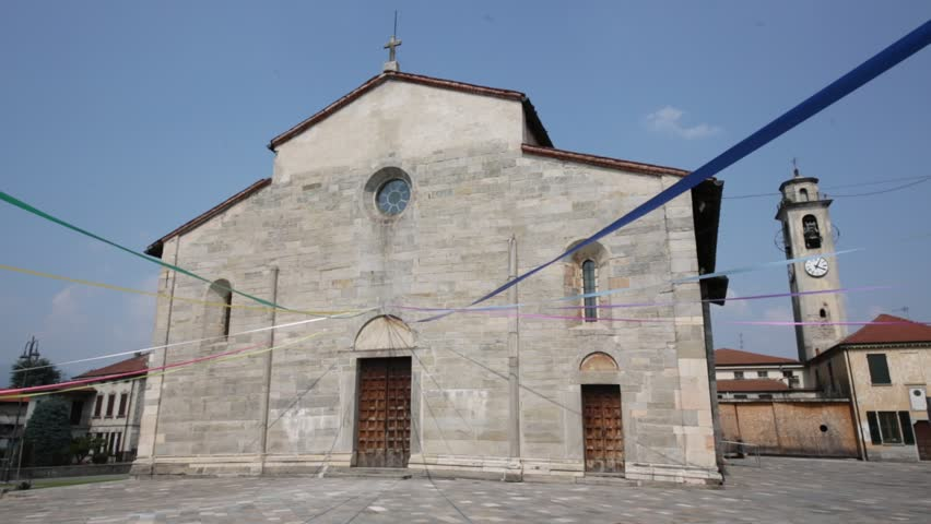 in italy brebbia  ancient   religion  building    for catholic and clock tower - HD stock video clip