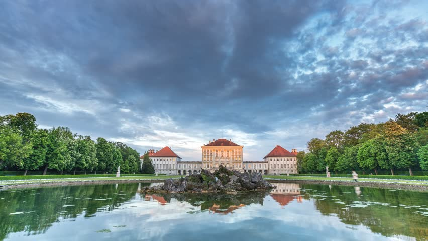 Nymphenburg Palace in Munich Germany 4K timelapse at sunset. | Shutterstock HD Video #18054763