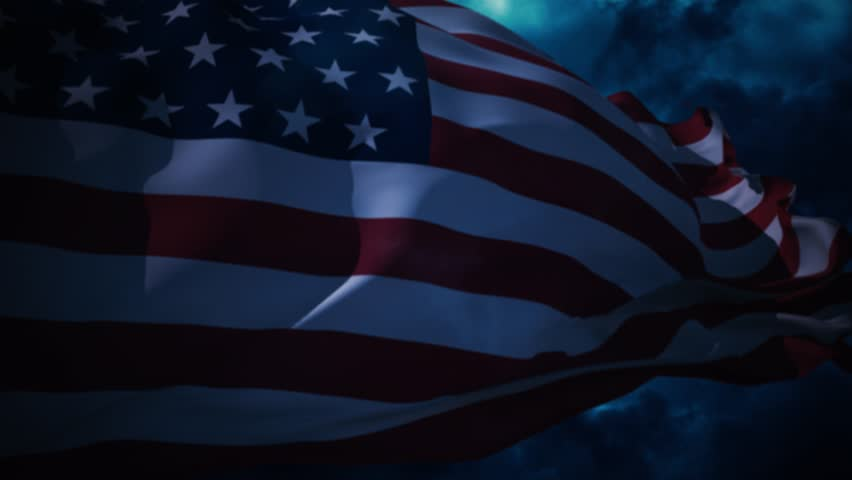 Independence day of America. Waving flag on the night sky. - 4K stock video clip