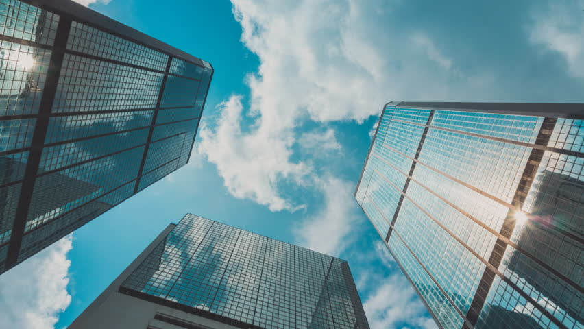 Corporate Buildings, Blue Sky and Clouds - 4K stock video clip