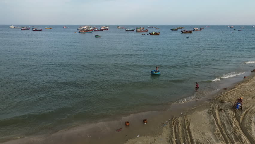 Aerial video over the sea and above a lot of fisherman boats, Asia, Vietnam, Mui N. - HD stock video clip