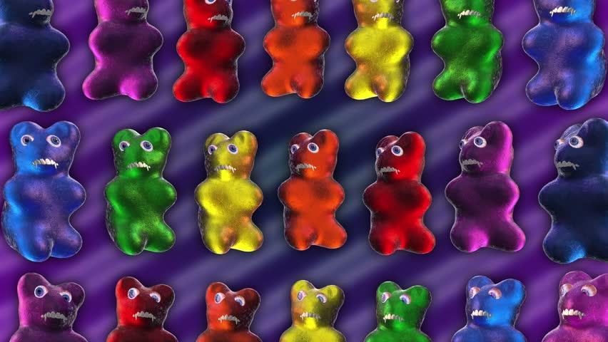 Horror gummy bears. Seamles animation background. - 4K stock video clip