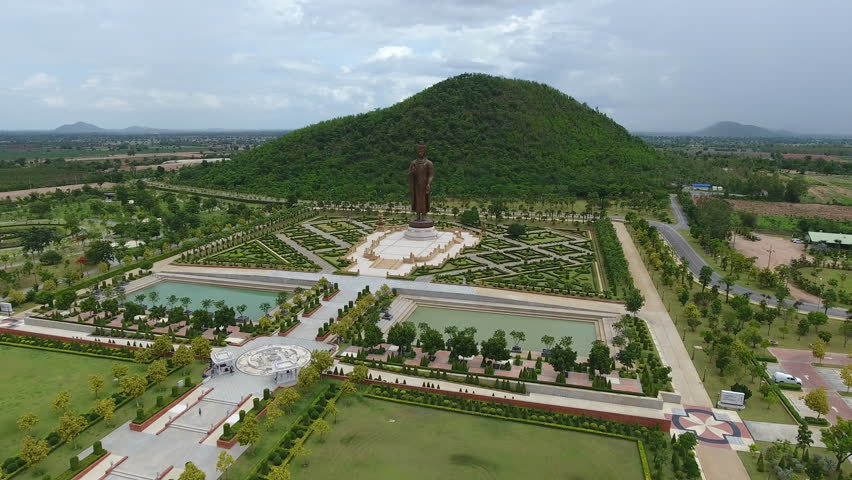 Wat Buddha Statue Thailand. high quality video from drone. | Shutterstock HD Video #18084679