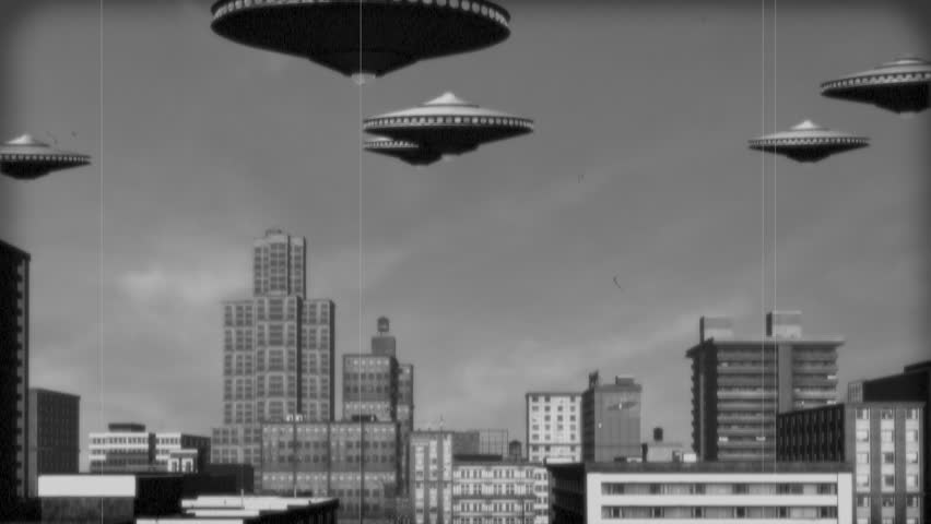 Vintage Alien Invasion: UFO Armada over Downtown. Black and White Version.  | Shutterstock HD Video #18090385