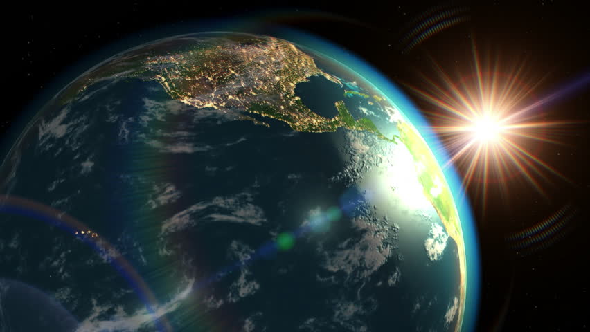 Earth and sun rising, view from the outside. 3D animation. Texture of the Earth was created in the graphic editor without photos and other images. The pattern of the city lights furnished by NASA. - 4K stock video clip