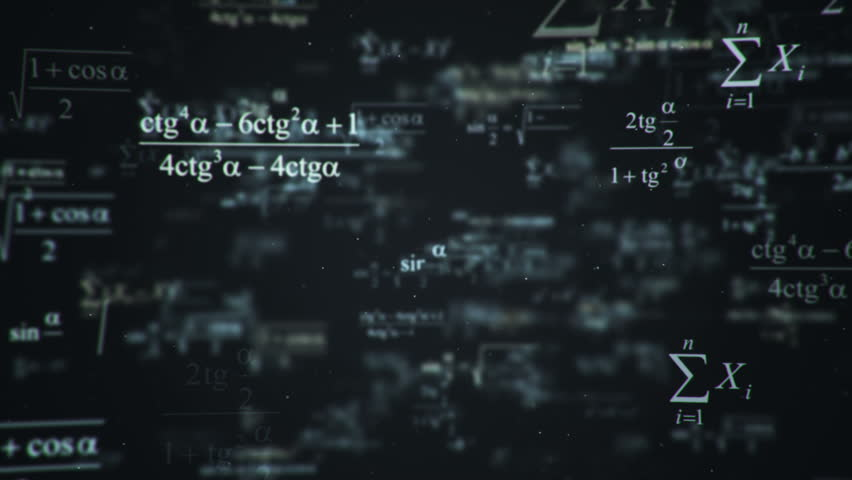 Animation of typing mathematics and physics formulas in abstract digital space. Animation of seamless loop. | Shutterstock HD Video #18115279