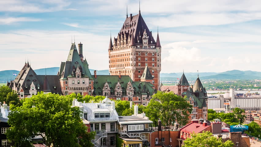 Time lapse view of Quebec City with the famous Chateau Frontenac hotel overlooking the Old Port of Quebec, Canada - zoom out. | Shutterstock HD Video #18166939
