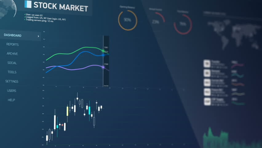 Stock market monitoring software, financial data changing on screen, statistics. Electronic chart with stock market fluctuations, summary, annual reports, analysis