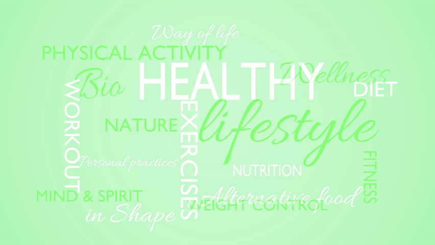 Healthy lifestyle word tag cloud animation, green background, loop able, 3D rendering, UHD