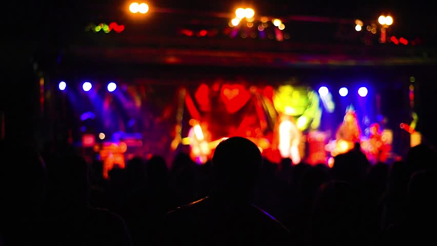 Intentionally blurred people viewing live concert - music, crowd, live concept