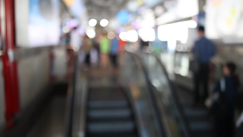 Walking of people on bts train station at Thailand
