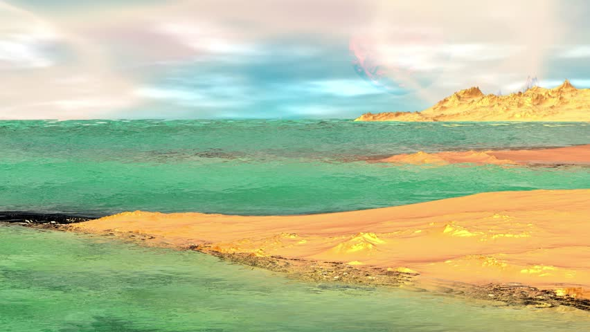 Rocks and  lake. Landscape of stranger planet. 3d Animation. 4? | Shutterstock HD Video #18215602