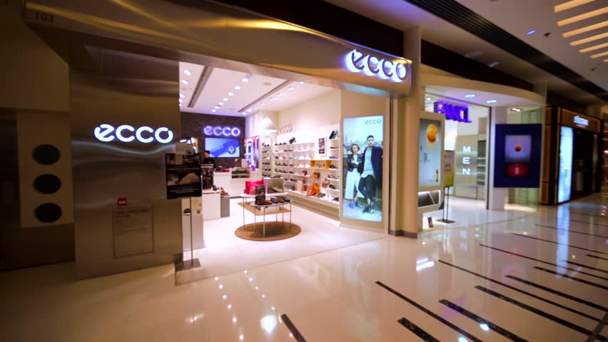 HONG KONG, CHINA - APRIL 2, 2016: Ecco store in Hong Kong mall.A Danish shoe manufacturer and retailer (1963). The company produces the footwear, accessories and small leather goods.
