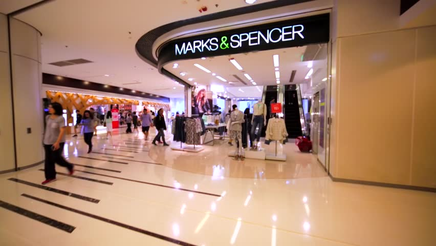 HONG KONG, CHINA - APRIL 2, 2016: Marks&Spencer store in Hong Kong mall. British multinational retailer (1884). It specialises in the selling of clothing, home products and luxury food products