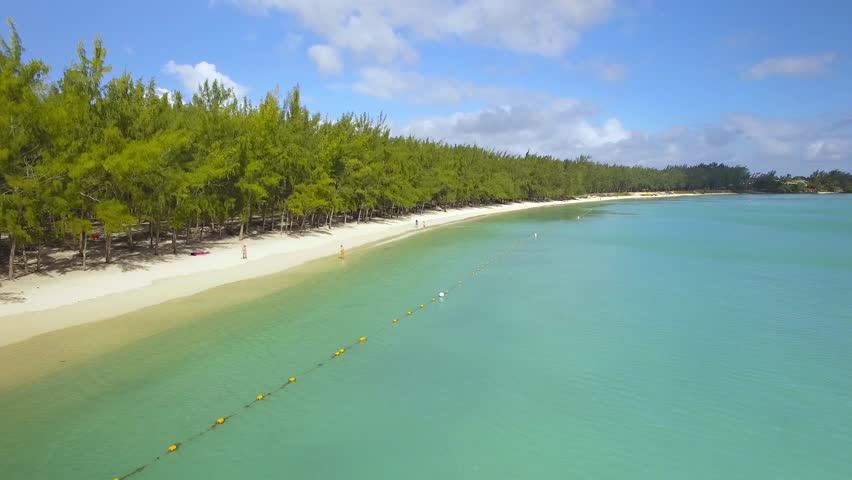 Mauritius Beach Island - Mont Choisy tropical beach - 4K UHD Top down aerial video   Shutterstock HD Video #18287899
