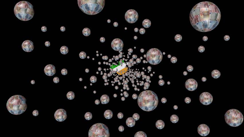Moving through euro spheres to Ireland map flag animation