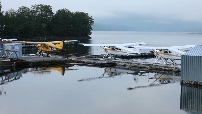 PRINCE RUPERT, BC  CIRCA AUG 2010: Float planes is main source of transportation along coast of Canada and Alaska in Prince Rupert. Marina marina and seaplane docks. - HD stock video clip