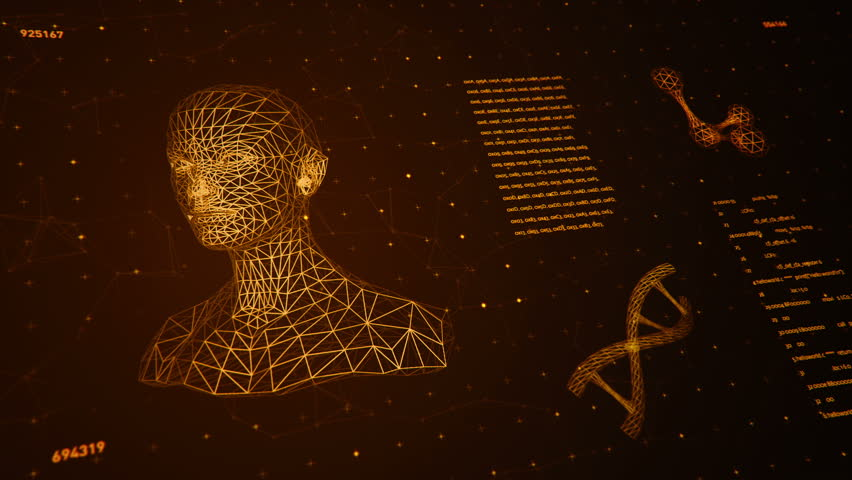 Background with animation of abstract interface. Human body, head, hands, brain, DNA spirals and models of atom in wireframe style and animation programming codes. Animation of seamless loop.   Shutterstock HD Video #18358234
