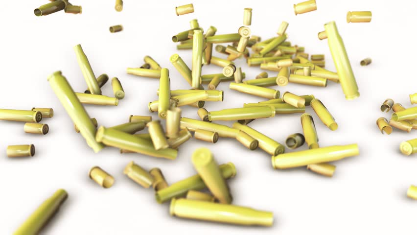 Slow Motion Animation of bullet shell casings falling on white background. HQ Video Clip | Shutterstock HD Video #18369664