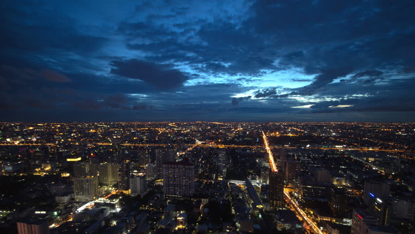 4K: Day to night time lapse, Cloud loop, Bangkok skyline, aerial view, Thailand | Shutterstock HD Video #18400903
